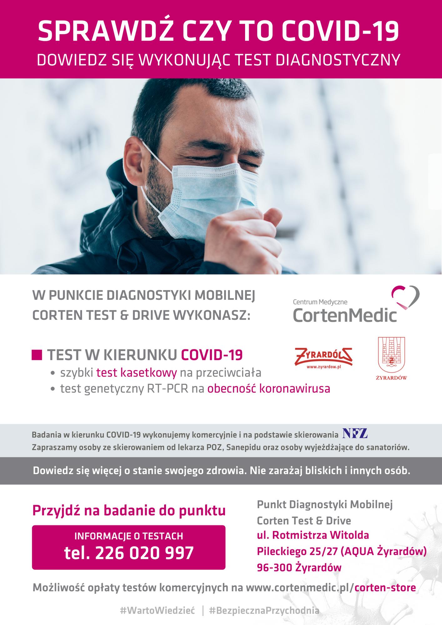 plakat informujący opunkcie diagnostyki mobilnej wŻyrardowie