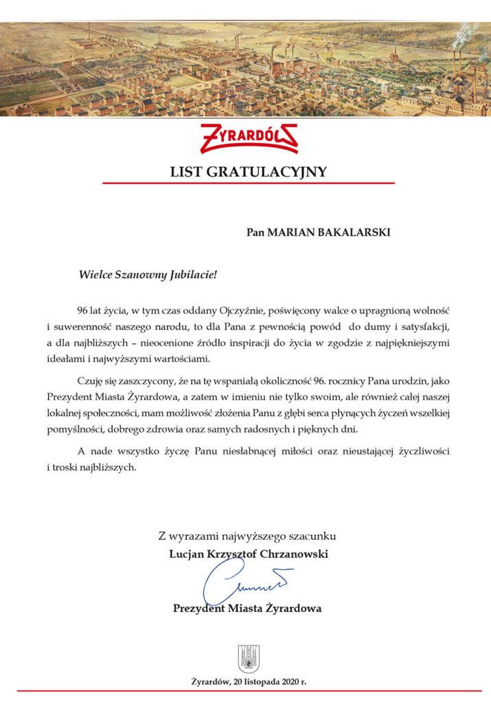 list gratulacyjny dla powstańca warszawy
